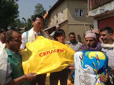 ceragem held a CSR Activity for victims of Nepal Earthquake